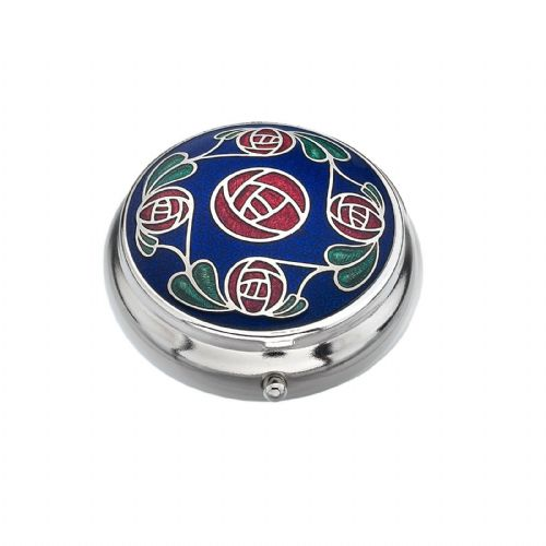 Pill Box Silver Plated Mackintosh Rose and Leaves Blue Brand New and Boxed